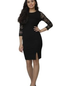 Women's Lace Sleeves With Front Split Black Dress