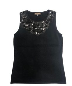 Women's Sleeveless Top With Sequinned Round Neckline