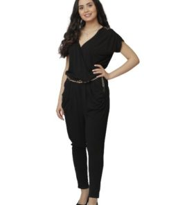Women's Black V-Neck Jumpsuit With Chain Waist Band
