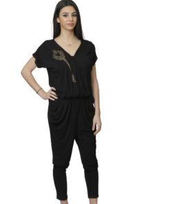 Women's Slouchy Pant Black Overall with Shoulder Design