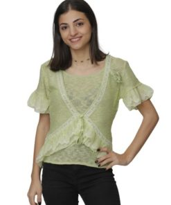 Women's Short Sleeves Twin Set with Ruffled Trims