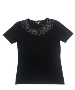 Women's Short Sleeves Round Neck With Stone Detail Top