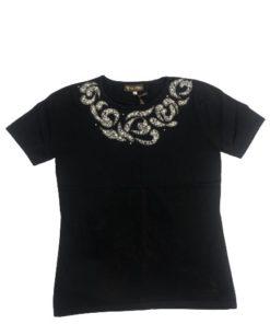 Black Top With Round Neckline Stone design