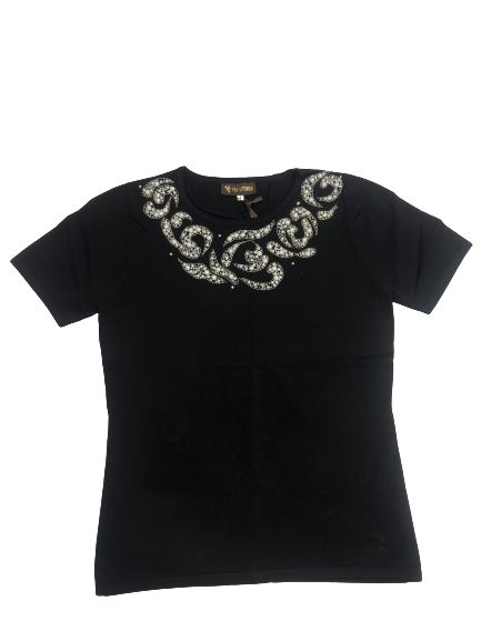 Black Top With Round Neckline Stone design
