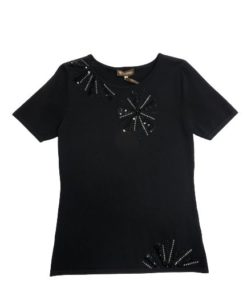 Women's Short Sleeves Top With Silver & Black Design
