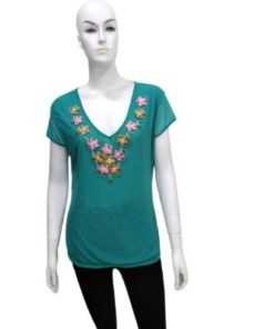 Women's Casual V-Neck Top With Neckline Flowers