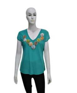 Women's Short Sleeves Top With Multi-color Neckline Flowers