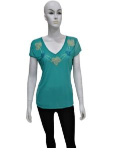 Women's V-Neck Top With Leaf Design