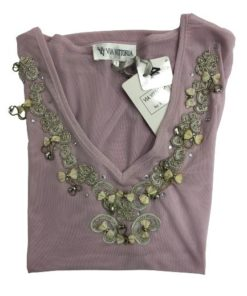 Women's V-Neck Short Sleeves Top With Neckline Beads Design