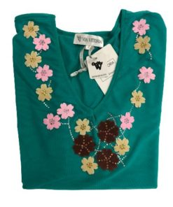 Women's Mid Length Short Sleeves Top With Floral Neckline Design