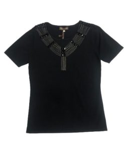 Women's V-Neck Short Sleeves Top with Stone Design