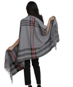 Open Front Poncho With Fringing