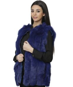 099-Real Fur Blue Gilet