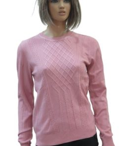 Round Neck Cable Pattern Sweater