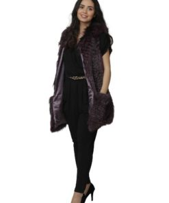 1688-1-Gilet Real Fur Purple