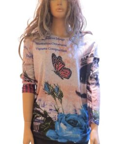 LI SHA Butterfly & Roses Women's Round Neck Long Sleeve Winter Sweater