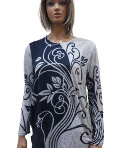 LI SHA Leaf Printing Long Sleeve Round Neck Sweater