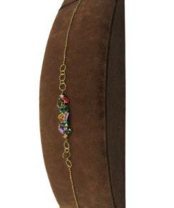 18K Yellow Gold Charm Women's Bracelets Designed With Stones
