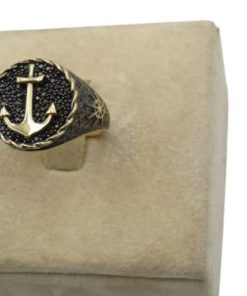 18K Yellow Gold Men's Ring With Anchor Design