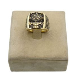 18K Yellow Gold Men's Ring With Crowned Skull Design