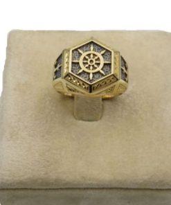 18K Yellow Gold Men's Ring With Ship Wheel Design