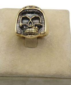 18K Yellow Gold Men's Ring With Skull Design