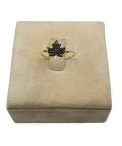 18K Yellow Gold Women's Ring With Black Leaf