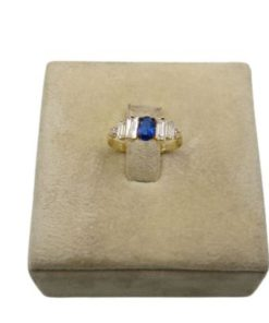 18K Yellow Gold Women's Ring With Blue Stone
