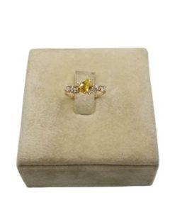 18K Yellow Gold Women's Ring With Yellow Stone