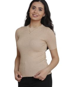 Knit Sweater With Round Neck Metallised Fibre