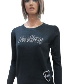 Knit Sweater With Round Neck Lightly Decorated