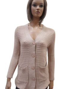 Buttoned Long Cardigan With Roped Look Texture