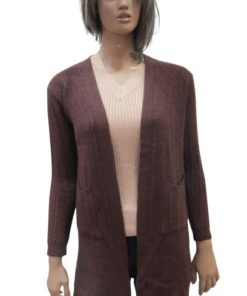 Long Wool Blend Ribbed Cardigan With Front Patch Pockets