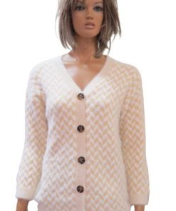 Wool Blend Women's Cardigan With A V-Neck And Long Sleeve Ribbed Look