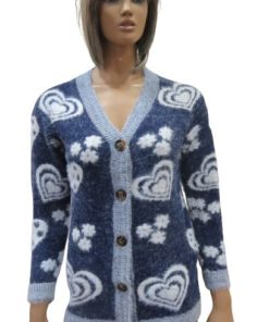 vWool Blend Women's Cardigan With A V-Neck And Different Heart And Flower Shapes