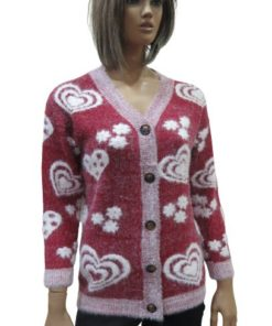 Wool Blend Women's Cardigan With A V-Neck And Different Heart And Flower Shapes