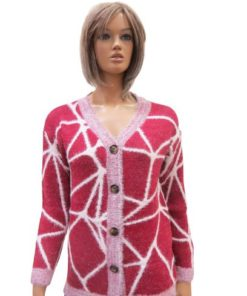 Wool Blend Cardigan With Buttons With Geometric Web Lines