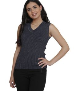 Sleeveless V Neck Ribbed Knit Vest Sweater