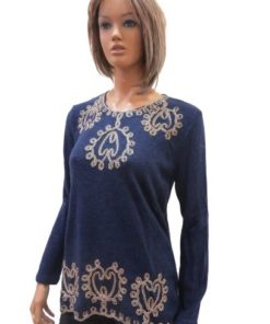 Knit Sweater With Round Neck Embroidered