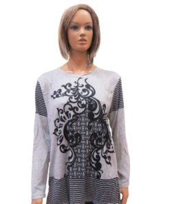 LI SHA Round Neck Flower Geometry Sweater
