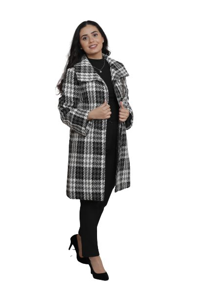 SWEET MISS Houndstooth Long Coat