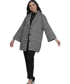 SWEET MISS Black/White Houdstooth Midi Coat
