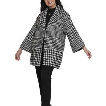 SWEET MISS Black/White Houdstooth Midi Coat