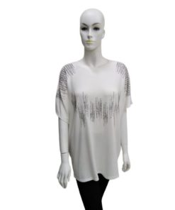Short Sleeves Top With Glitter Design