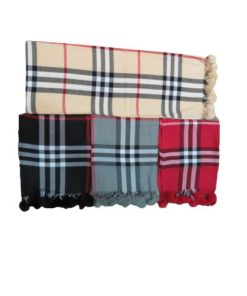 D&JEANS- Burberry Scarf With Fur Balls On The Trims.