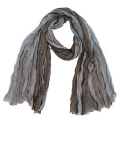 Fine Textured Striped Scarf with Fringed Edges
