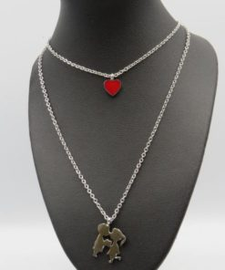 Heart and Couple Double Chain Stainless Steel Necklace