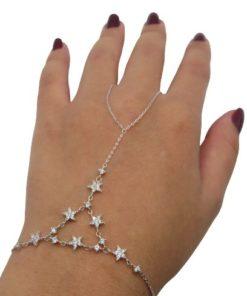 Wome'n Stars Finger Ring Hand Chain Bracelet