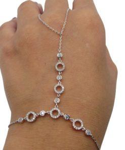 Wome'n Circles Finger Ring Hand Chain Bracelet