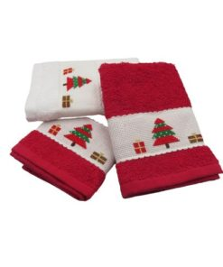 Small Cotton Christmas Themed Towels Handmade Cross